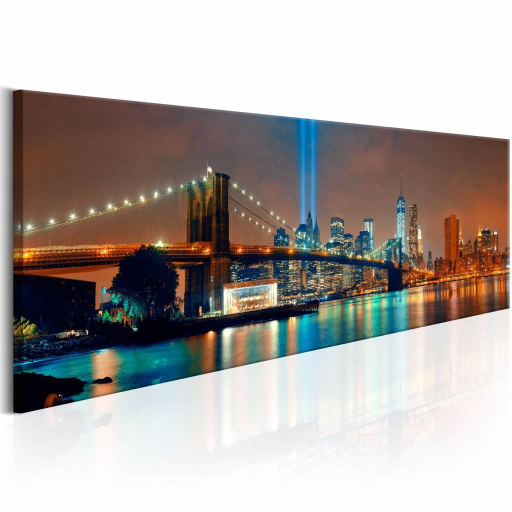 Schilderij - New York City: Prachtige Nachten 150X50 , multi kleur , 1 luik