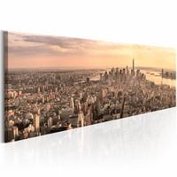Schilderij - NYC: Urban Beauty , New York , bruin , 150x50cm , 1 luik