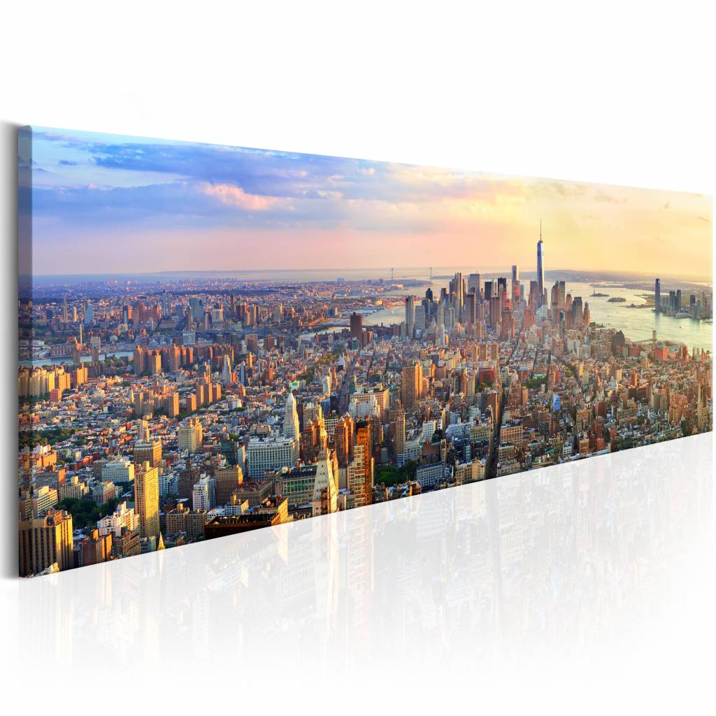 Schilderij - New York Panorama , multi kleur , 1 luik , 150x50
