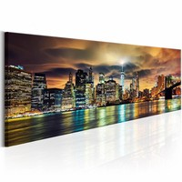 Schilderij - New York Sky , multi kleur ,  150x50cm , 1 luik
