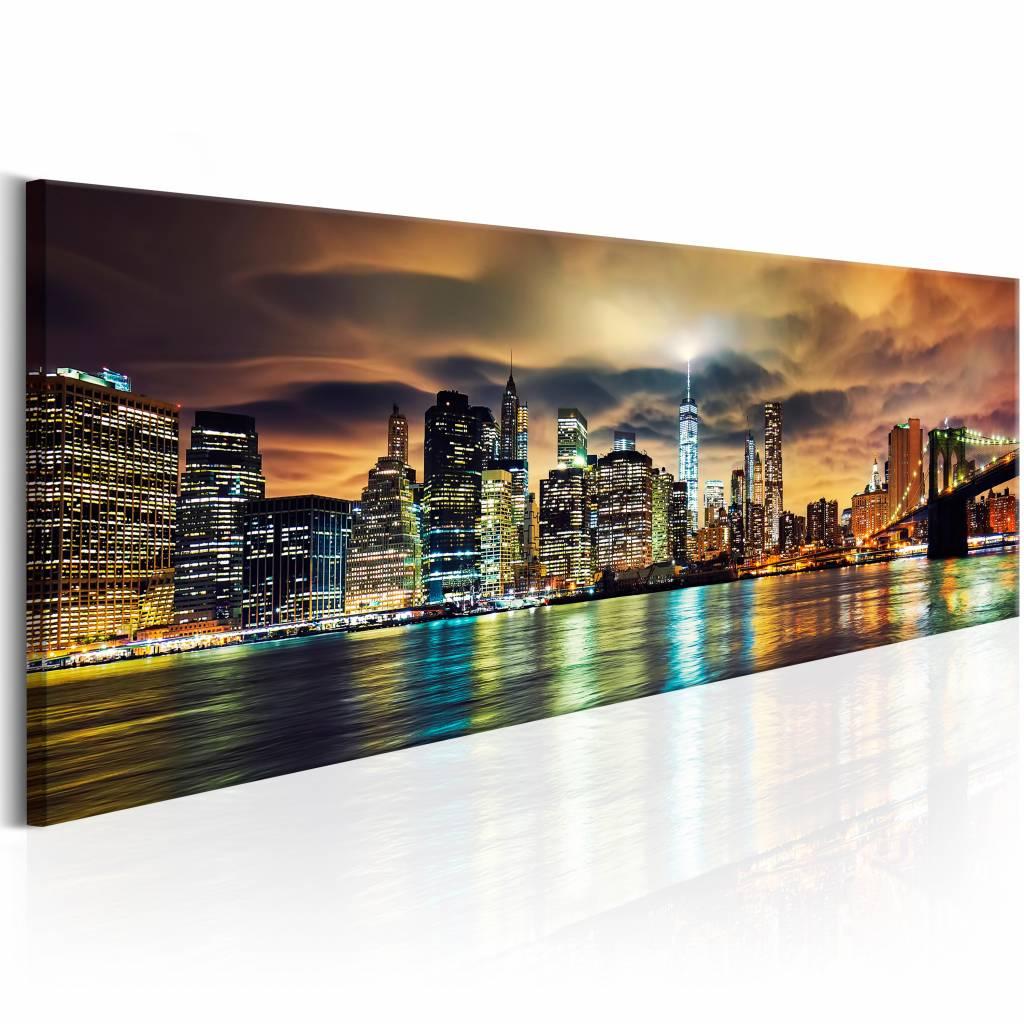 Schilderij - New York Sky , multi kleur , 150x50 , 1 luik