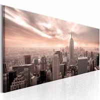 Schilderij - Roze Mist - New York 150X50 , 1 luik