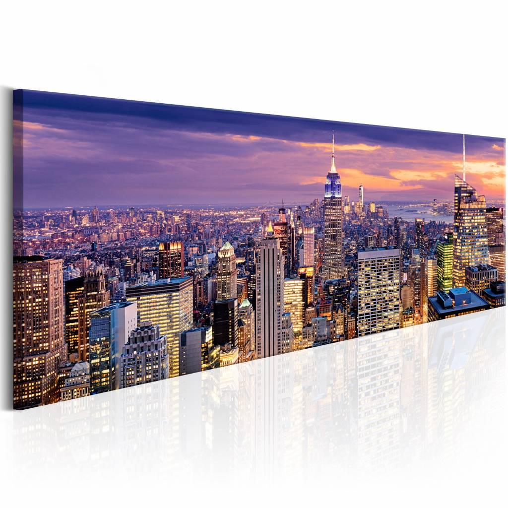 Schilderij - Ontwaken in New York 150X50 , multi kleur , 1 luik