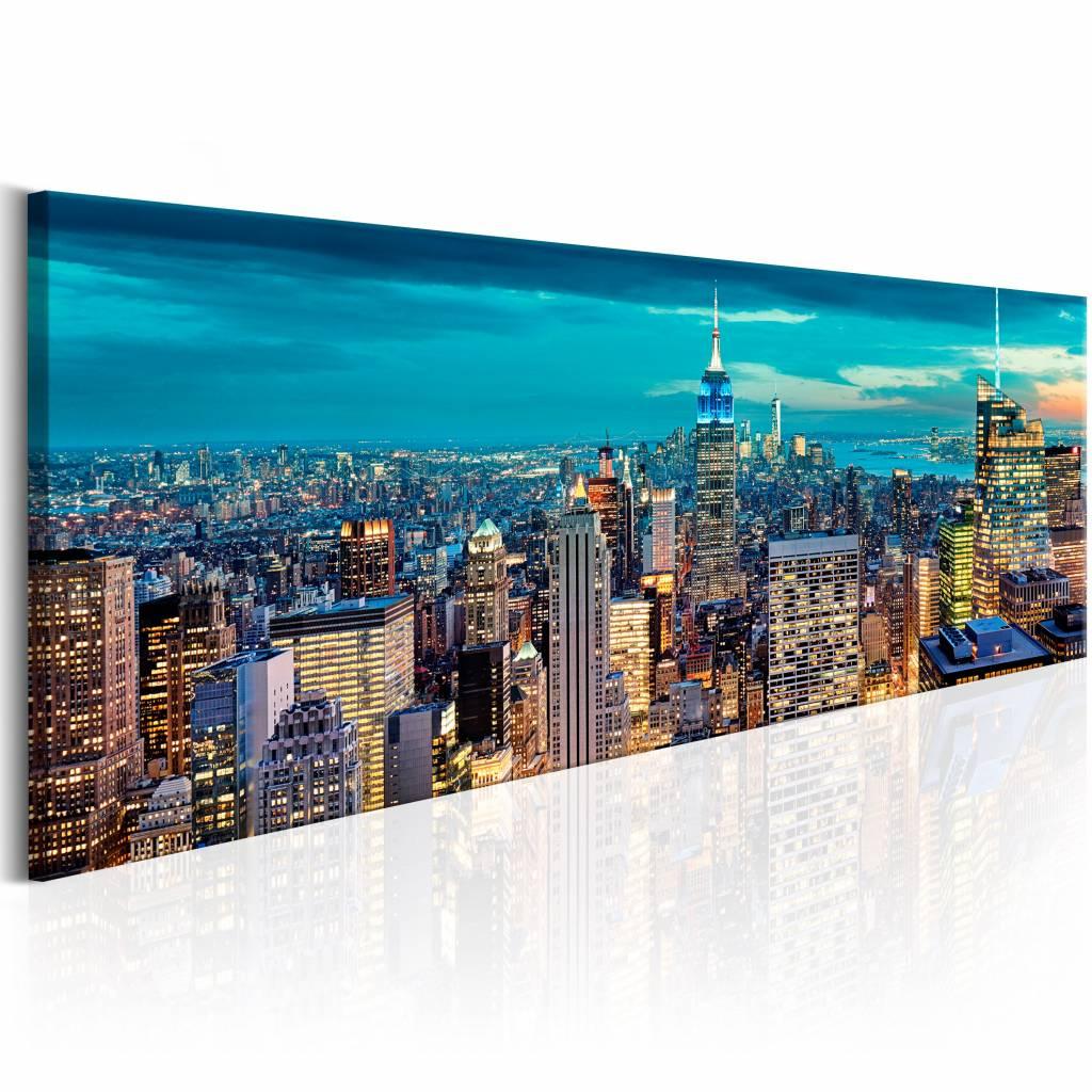 Schilderij - Blauwe Stad - New York 150X50 , 1 luik