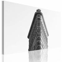 Schilderij -  New York City - Flatiron Building, zwart-wit, wanddecoratie