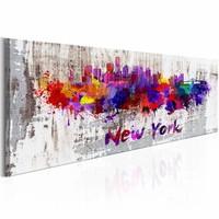 Schilderij - Stad van artiesten, New York City, Multi-gekleurd, 2 Maten, 1luik