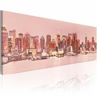 Schilderij -  Lichten van Manhattan - New York 150X50cm , roze