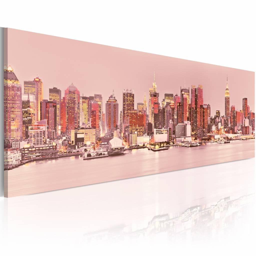 Schilderij - Lichten van Manhattan - New York 150X50 , roze , 1 luik
