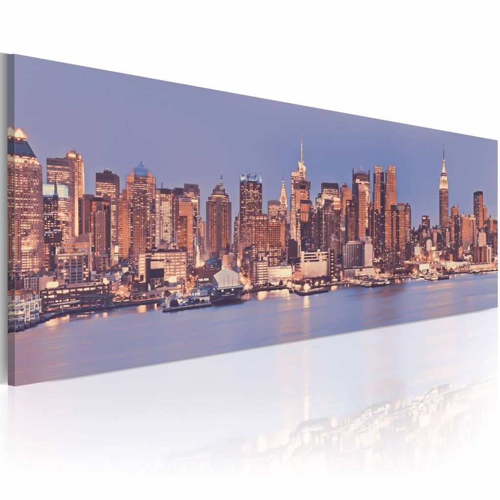 Schilderij - NY - Nocturne City 150X50 , new york , 1 luik