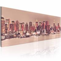 Schilderij - New York City, stad van het licht, Roze, 3 Maten, 1luik