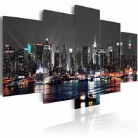 Schilderij - New York City - Grijze lucht, 5luik, premium print