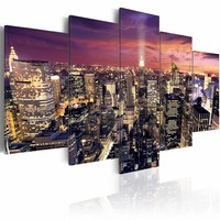 Schilderij - New York City - Nacht Lichten, 5luik, multi-gekleurd, premium print