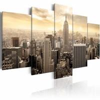 Schilderij - New York City - Zonsopkomst,  5luik, beige, premium print