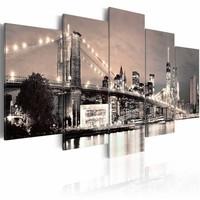 Schilderij - New York City - Flash of Hope, Sepia, 5luik