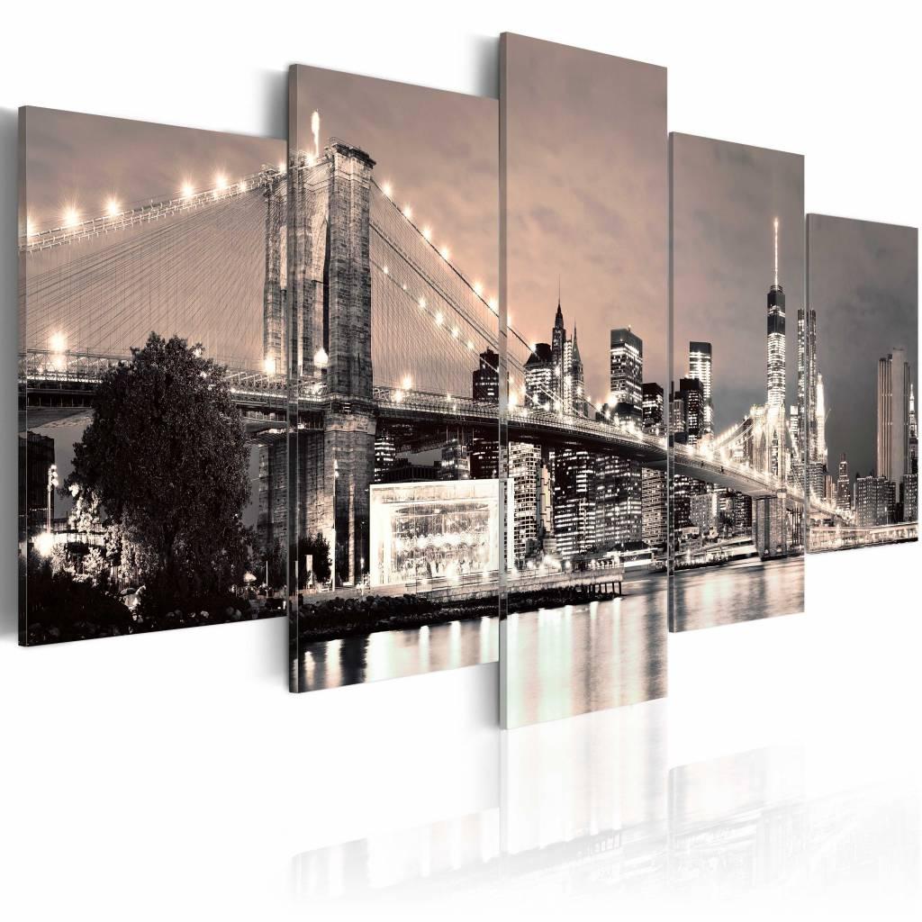Schilderij - New York City - Flash of Hope, Sepia, 5luik, wanddecoratie