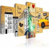 Canvas Schilderij - I love New York City, Geel, 2 Maten, 5luik