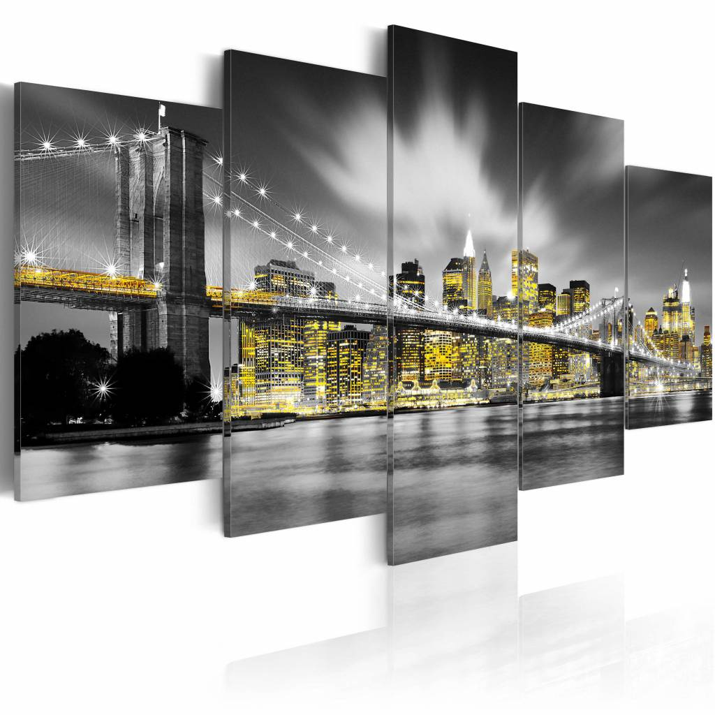 Schilderij - New York City - Geel/Zwart-Wit, 5luik, premium print