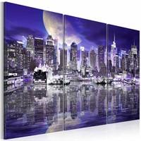 Schilderij - New York City - In Spiegelbeeld, Paars/Blauw, 3luik