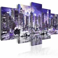 Schilderij - Maanlicht nacht in New York City, Paars/Blauw, 2 Maten, 5luik