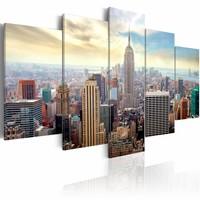 Schilderij -  New York City - Zonsopkomst, Multi-gekleurd, 5luik