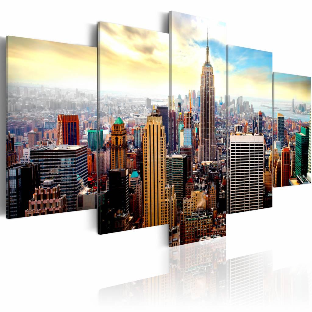Schilderij - New York City - Heart of the City, Multi-gekleurd, 5luik, premium print