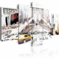 Schilderij - Don't walk, New York City, Wit, 2 Maten, 5luik