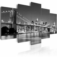 Schilderij - New York City - Droom over New York, Zwart-Wit, 5luik