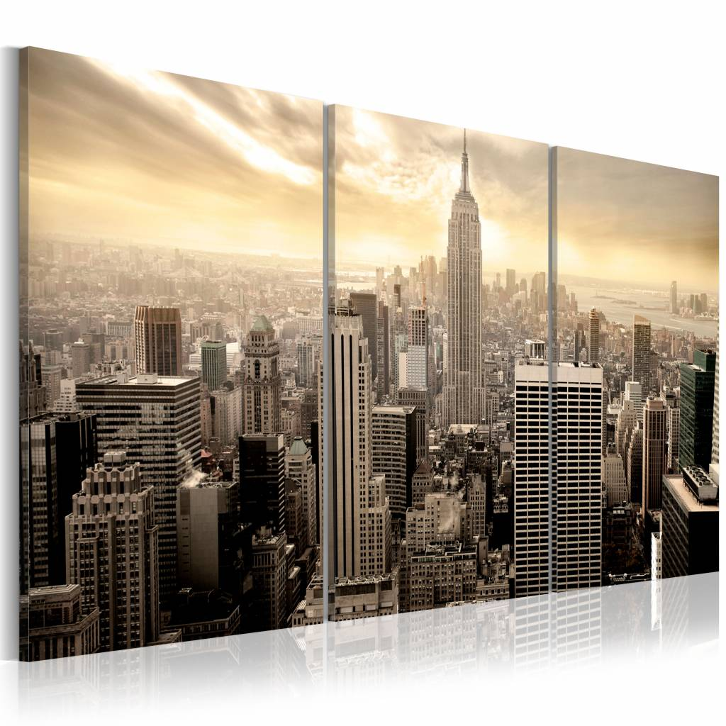 Schilderij - New York City - Good morning NYC! 60X30, 3luik, wanddecoratie