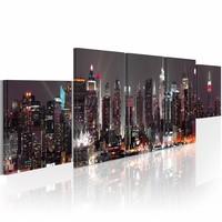 Schilderij - New York wolkenkrabbers  , multi kleur , 5 luik  , 100x30