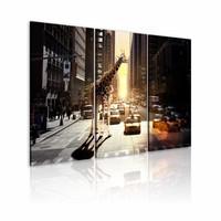 Schilderij - New York City  - Giraffe in de grote stad, Multi-gekleurd, 3luik