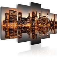 Schilderij - Geïnspireerd New York City, Grijs/Brons , 2 Maten, 5luik