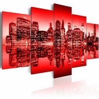 Schilderij - New York City - Rode Gloed, 5luik, wanddecoratie