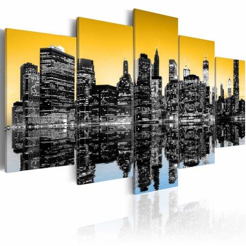 De Spiegel Vof.Schilderij New York City Spiegel Reflectie Geel 5luik