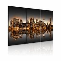 Schilderij - New York City - Inspirerend, Multi-gekleurd, 3luik, wanddecoratie