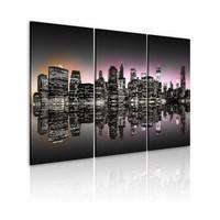 Schilderij - New York City - De stad die nooit slaapt, Zwart-Wit/Roze/Oranje, 3luik