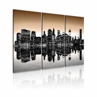 Schilderij - New York City - Zinkende Stad II, Zwart/Bruin, 3luik