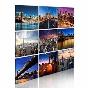 Schilderij - New York in negen scènes, Multi-gekleurd, 2 Maten, 9luik