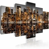 Schilderij - Gouden impressie van Manhattan, New York City, Goud/Grijs, 2 Maten, 3luik