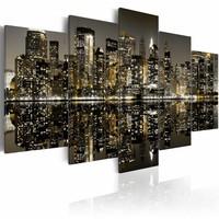 Canvas Schilderij - New York's magische nacht, Goud/Grijs, 2 Maten, 5luik