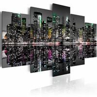 Schilderij - Verborgen accenten in New York, Multi-gekleurd, 2 Maten, 5luik