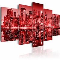Canvas Schilderij - New York - rode gloed, 2 Maten, 5luik