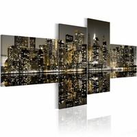 Schilderij - New York,  City - Dag of Nacht? Goud/Grijs, 4luik