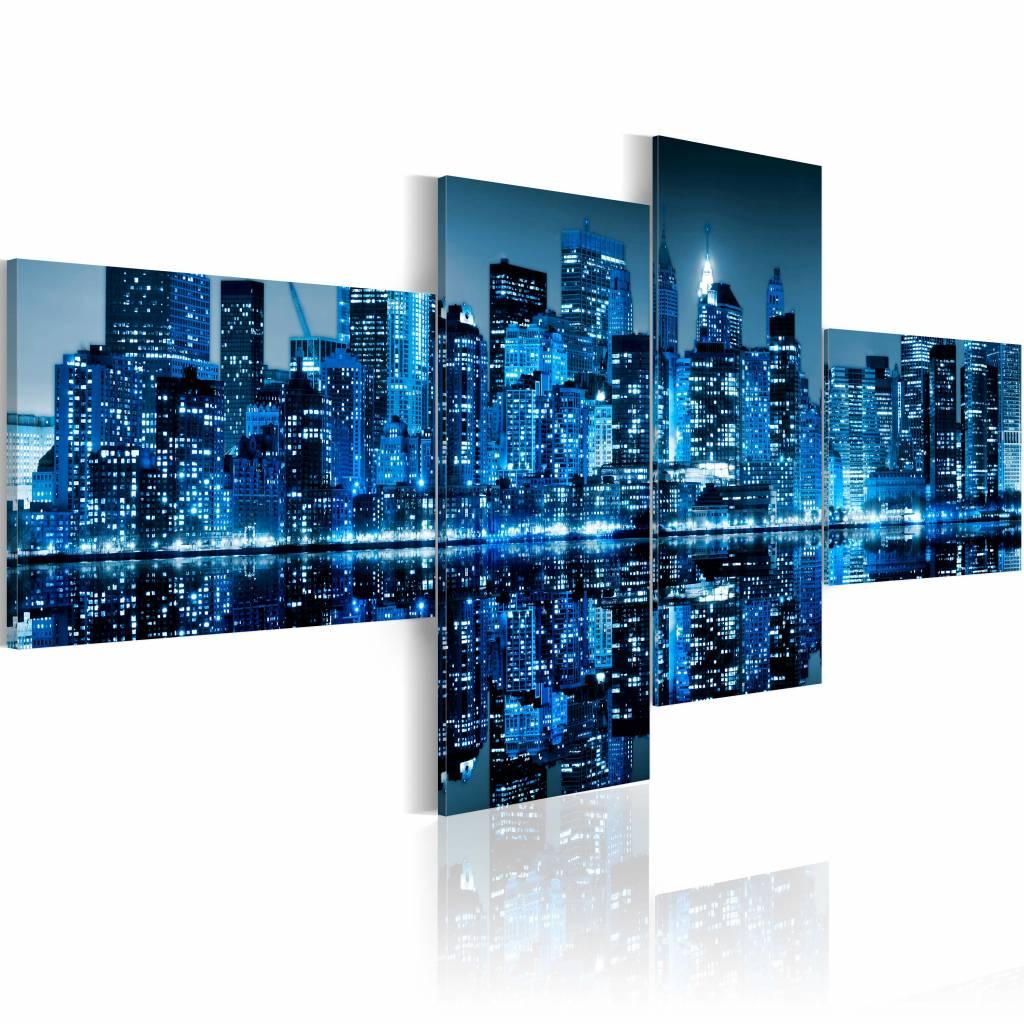 Schilderij - New York City - Skyscrapers in het Blauw, 4luik, premium print
