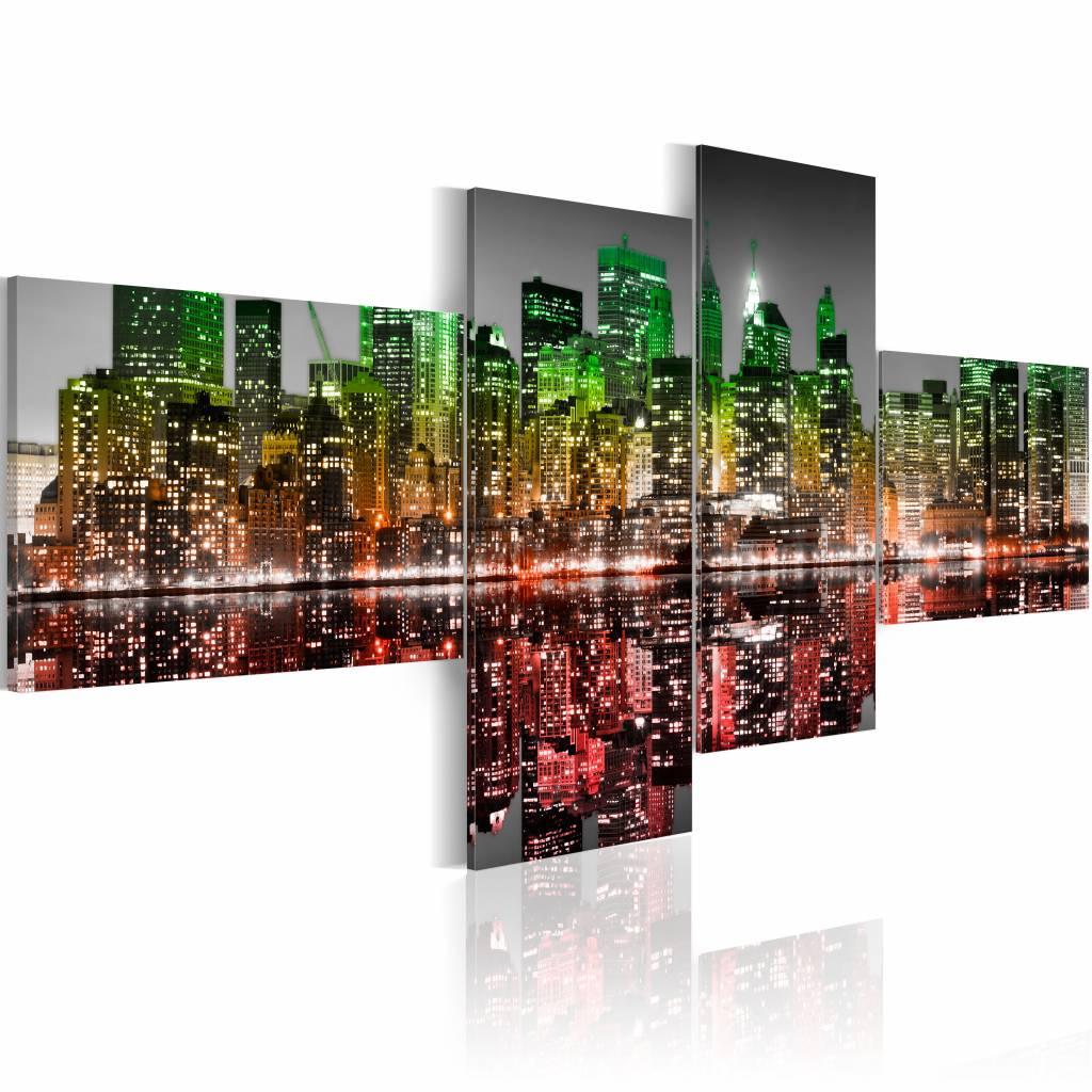 Schilderij - New York City - In Groen en Rood, 4luik, wanddecoratie