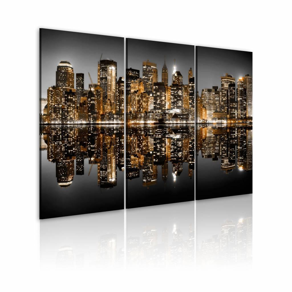 Schilderij - New York City - Zee van Lichten, Goud/Grijs, 3luik, Premium print