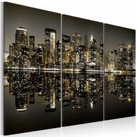 Schilderij - New York City - Gouden Gloed, 3luik, premium print