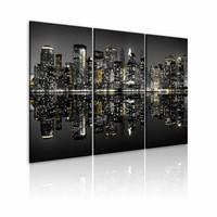 premium print Schilderij - New York City - Glinsterend, Goud/grijs, 3luik, premium print