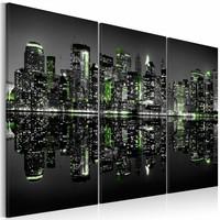 Schilderij - Groen New York, 2 Maten, 3luik