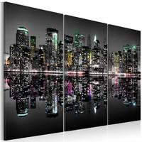 Schilderij - New York City - Kleurcontrasten, Multi-gekleurd, 3luik