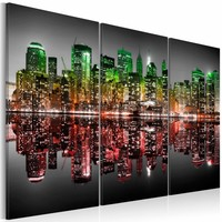 Schilderij -  Manhattan, New York in het rood groen, 2 Maten, 3luik